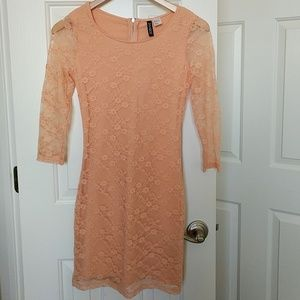 Blush Pink Lace Body Con 3 Quarter Sleeve Dress
